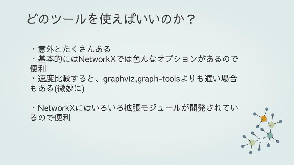 ・意外とたくさんある ・基本的にはNetworkXでは色んなオプションがあるので 便利 ・速度...
