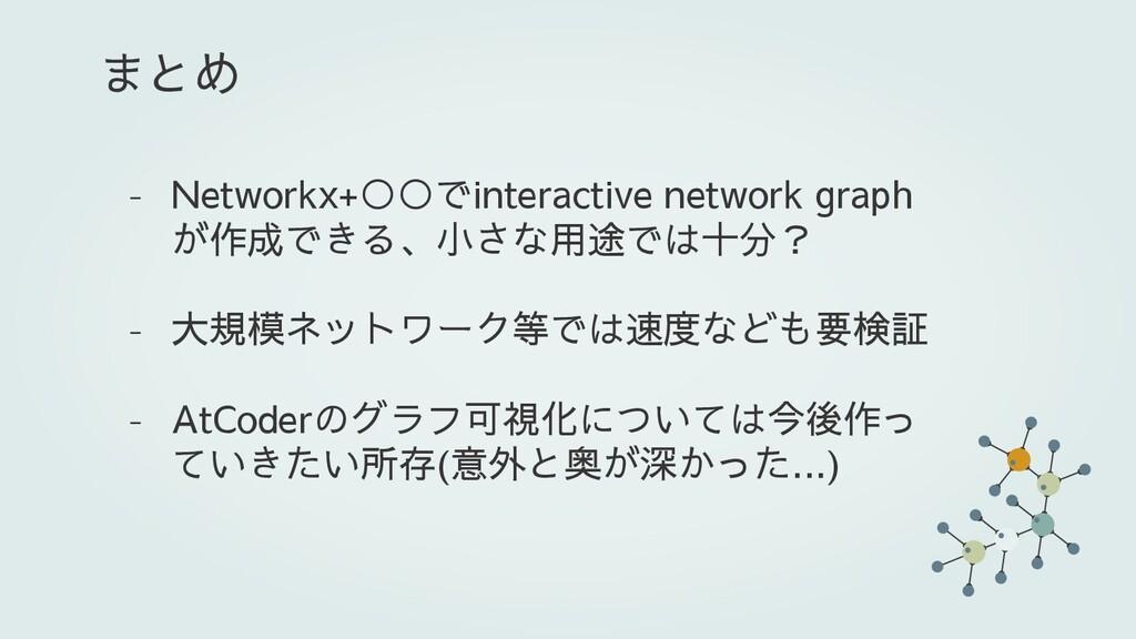 - Networkx+○○でinteractive network graph が作成できる、...