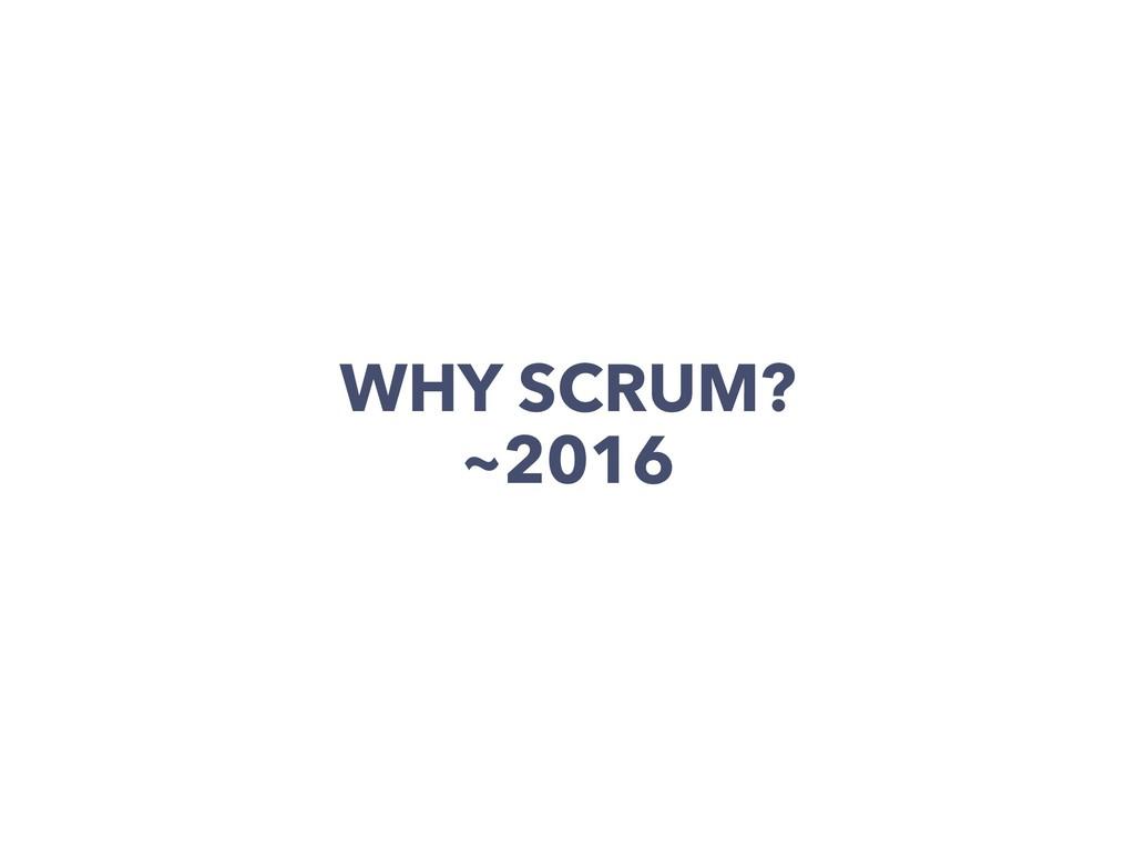 WHY SCRUM? ~2016