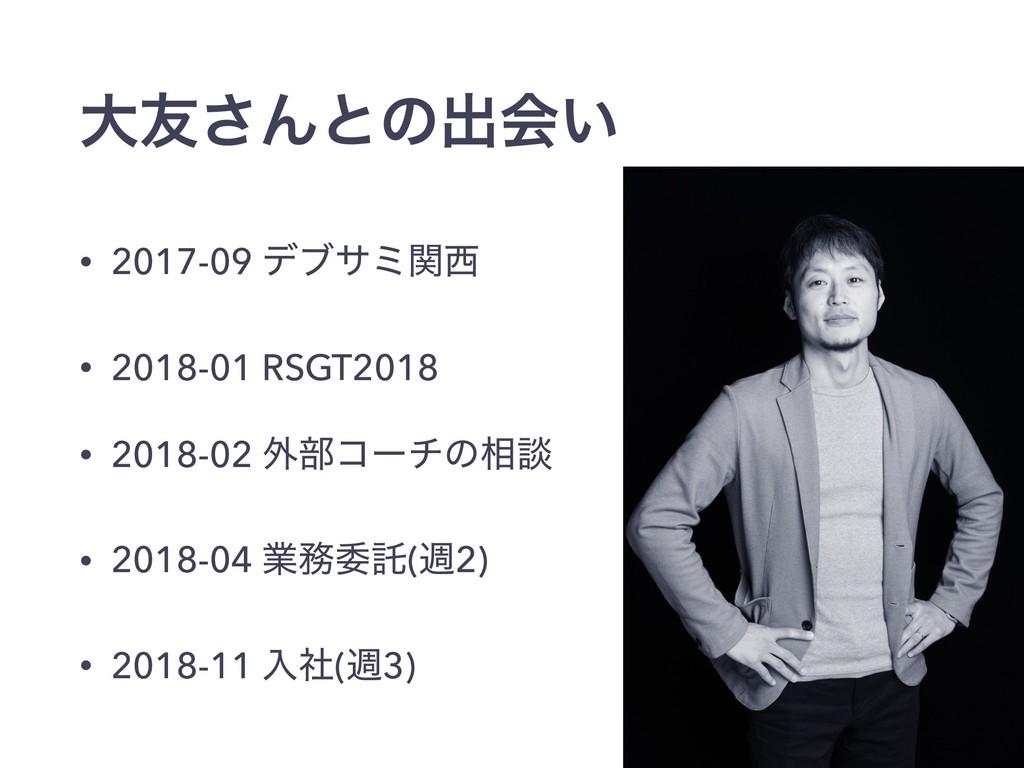 େ༑͞Μͱͷग़ձ͍ • 2017-09 σϒαϛؔ • 2018-01 RSGT2018 •...