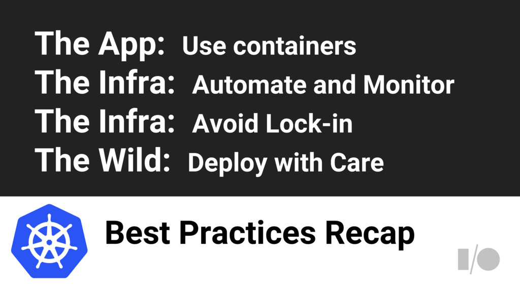 Best Practices Recap The App: Use containers Th...
