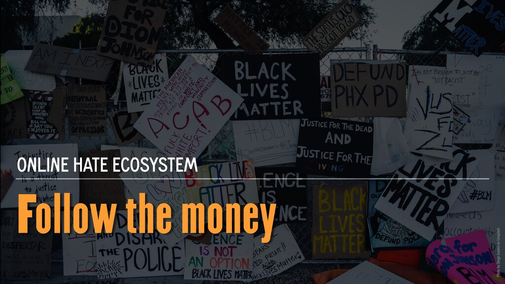 Follow the money ONLINE HATE ECOSYSTEM Photo by...