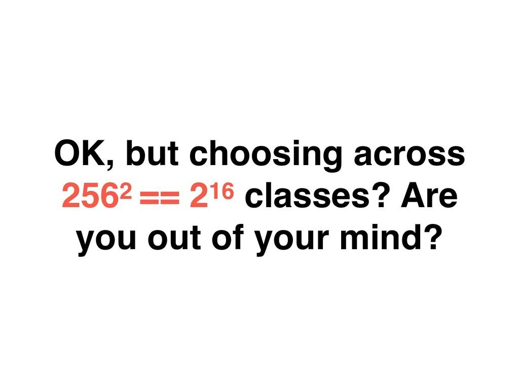 OK, but choosing across 2562 == 216 classes? Ar...