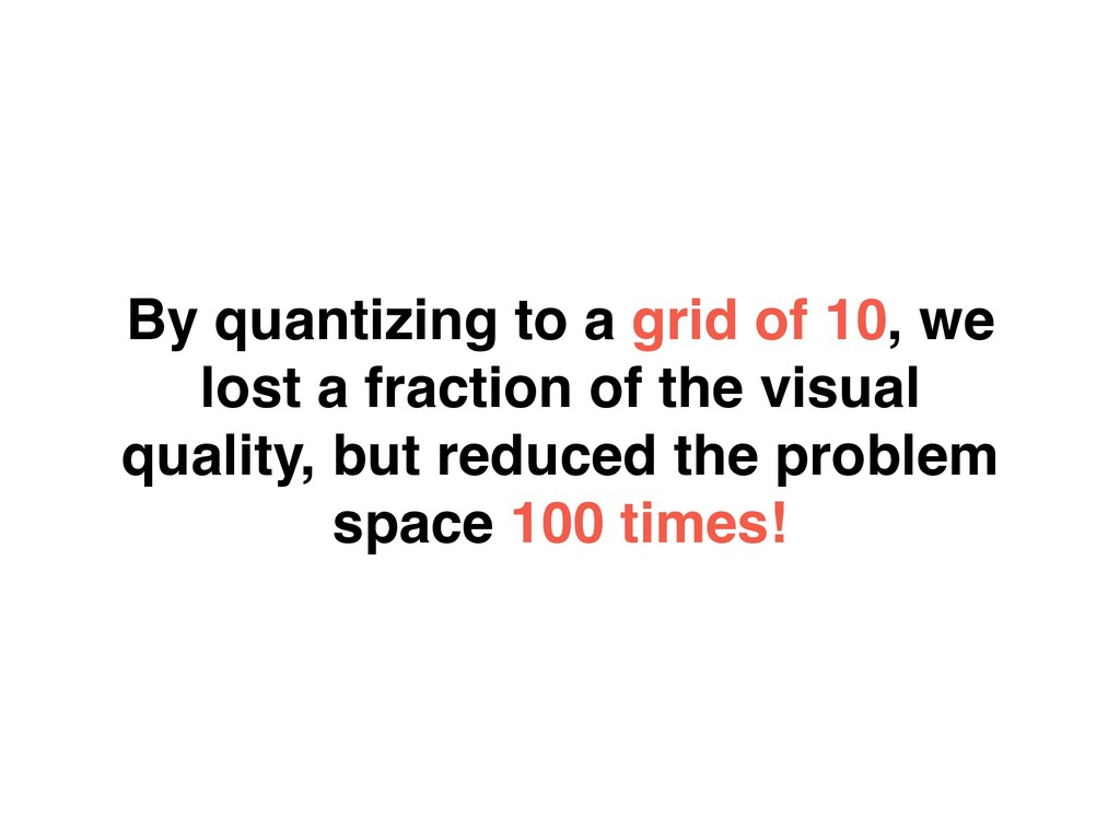 By quantizing to a grid of 10, we lost a fracti...