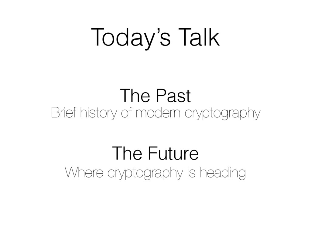 Today's Talk The Past Brief history of modern c...