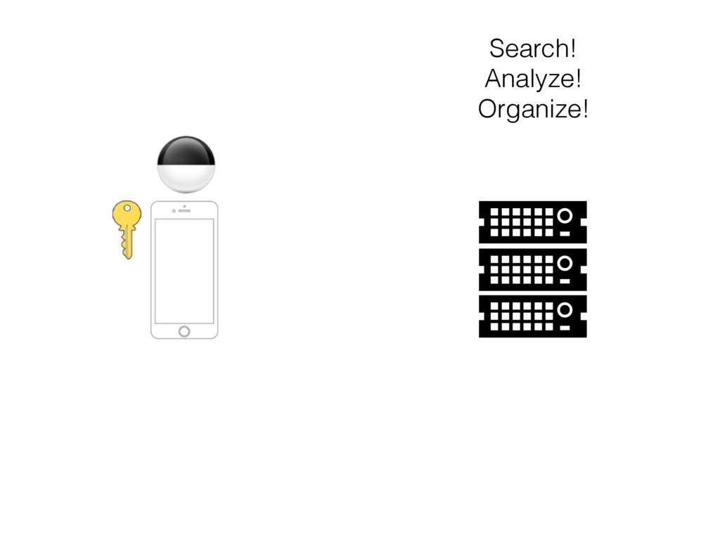 Search! Analyze! Organize!
