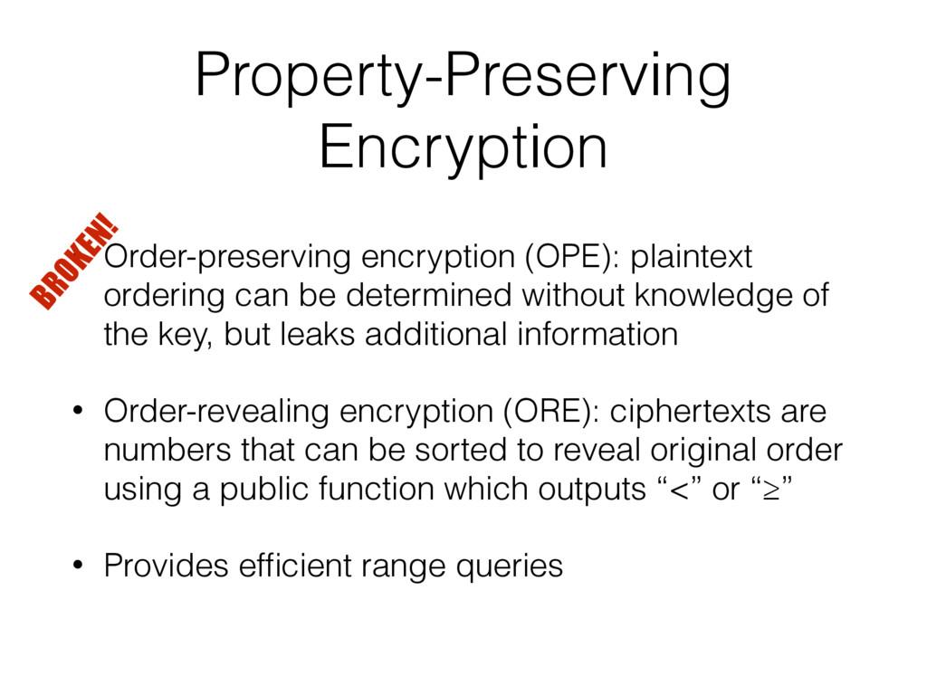 Property-Preserving Encryption • Order-preservi...