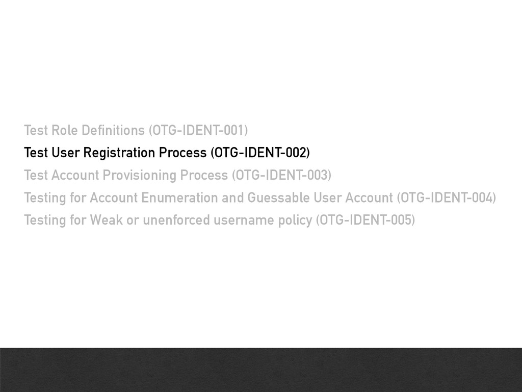Test Role Definitions (OTG-IDENT-001) Test User...