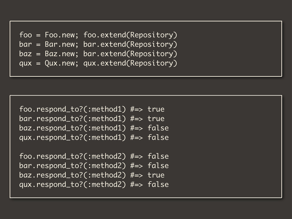 foo = Foo.new; foo.extend(Repository) bar = Bar...