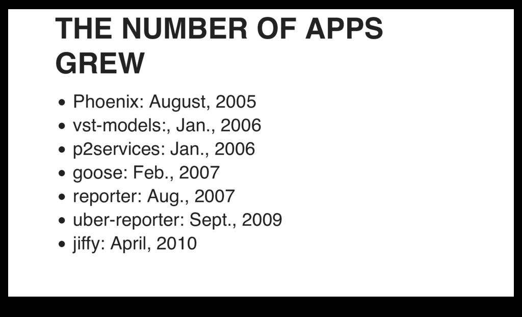 THE NUMBER OF APPS GREW Phoenix: August, 2005 v...