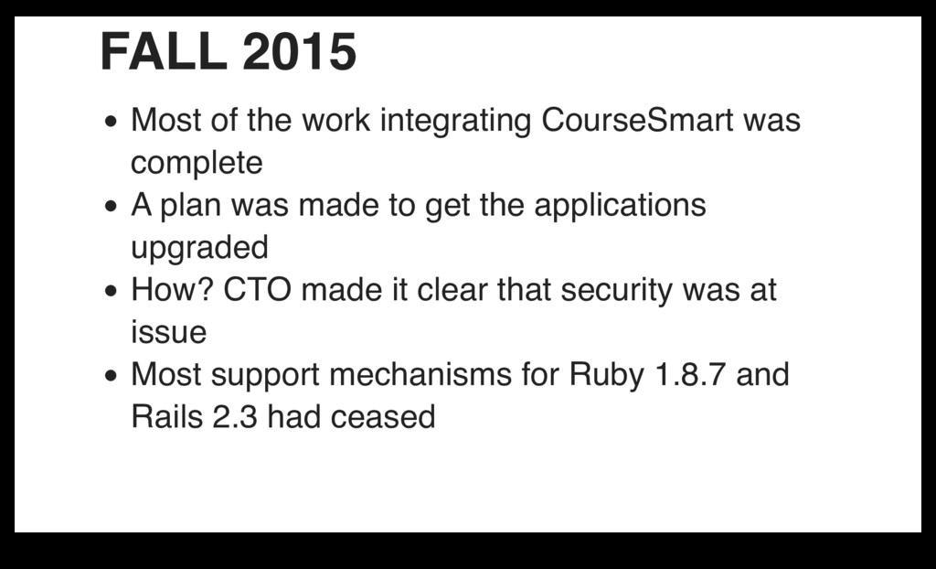 FALL 2015 Most of the work integrating CourseSm...