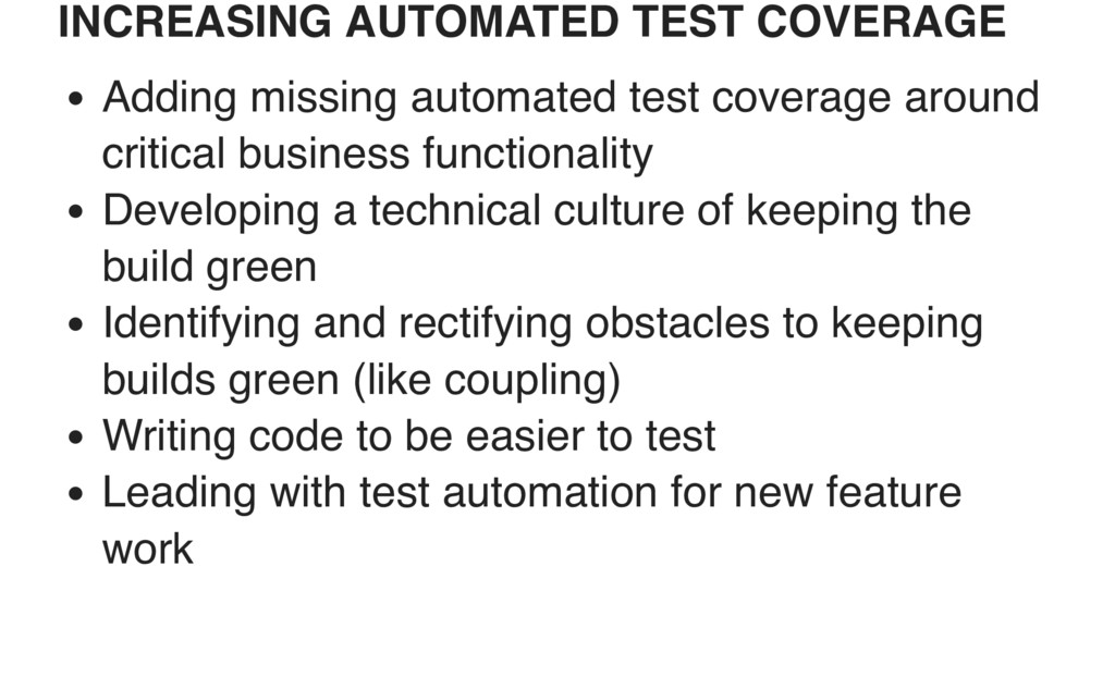 INCREASING AUTOMATED TEST COVERAGE Adding missi...
