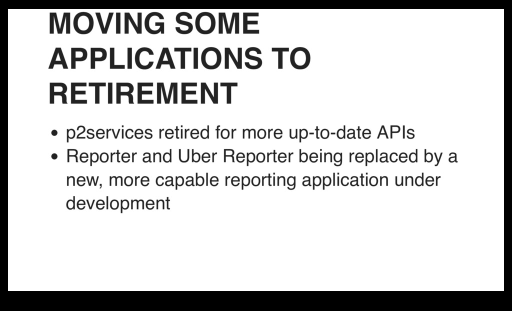 MOVING SOME APPLICATIONS TO RETIREMENT p2servic...
