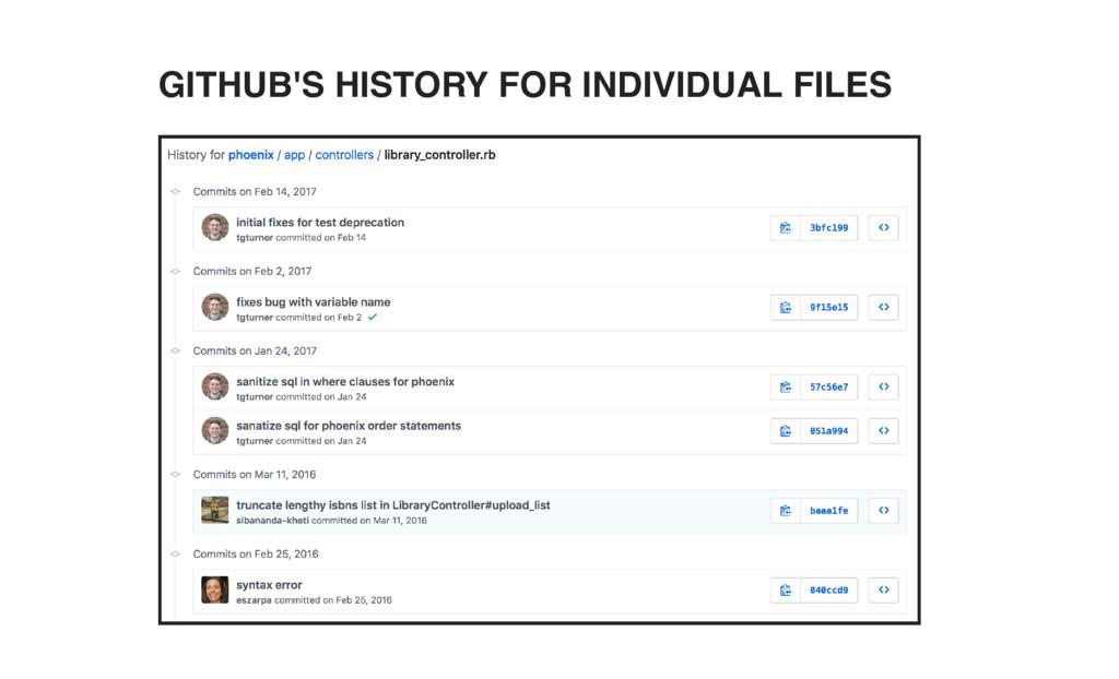GITHUB'S HISTORY FOR INDIVIDUAL FILES