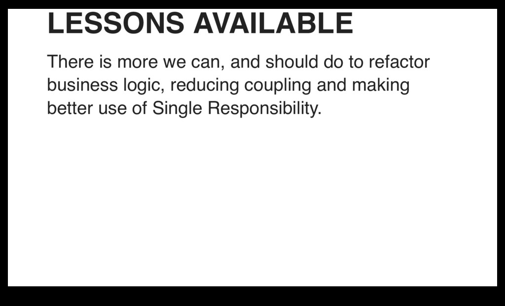 LESSONS AVAILABLE There is more we can, and sho...