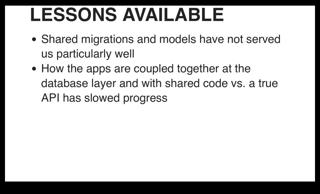 LESSONS AVAILABLE Shared migrations and models ...