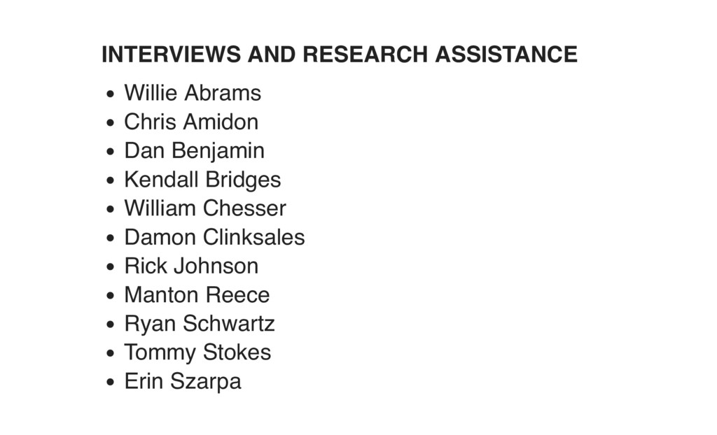 INTERVIEWS AND RESEARCH ASSISTANCE Willie Abram...
