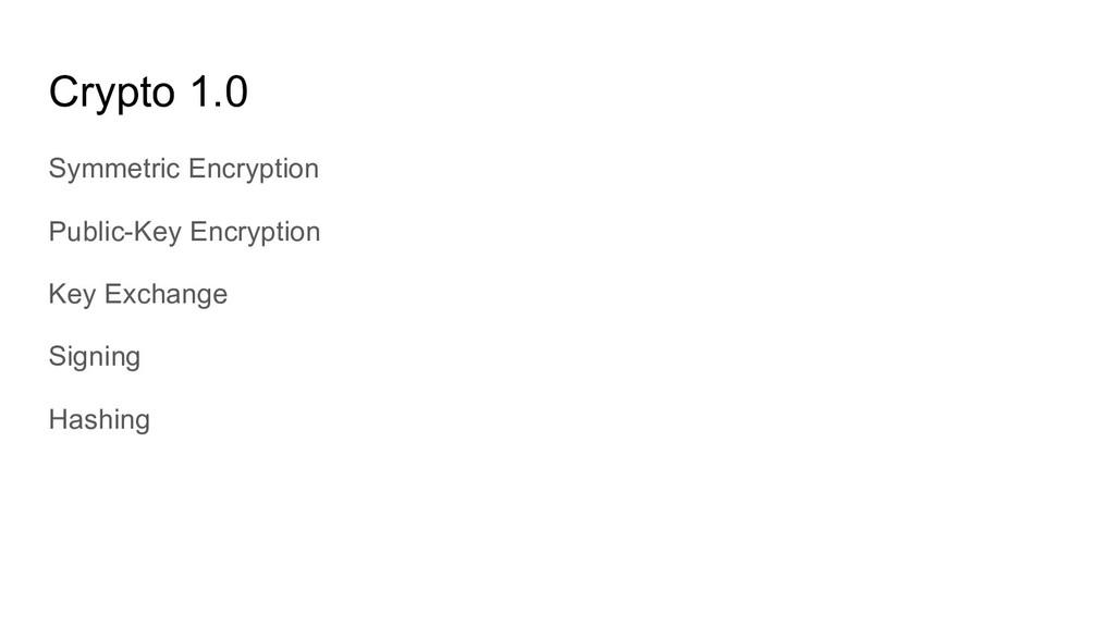 Crypto 1.0 Symmetric Encryption Public-Key Encr...