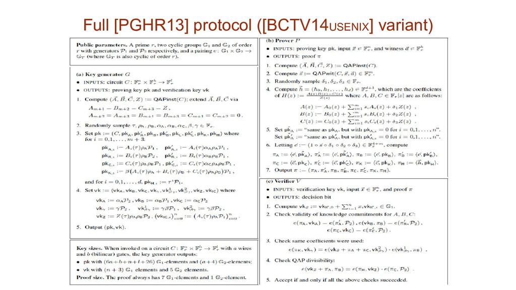 Full [PGHR13] protocol ([BCTV14USENIX] variant)