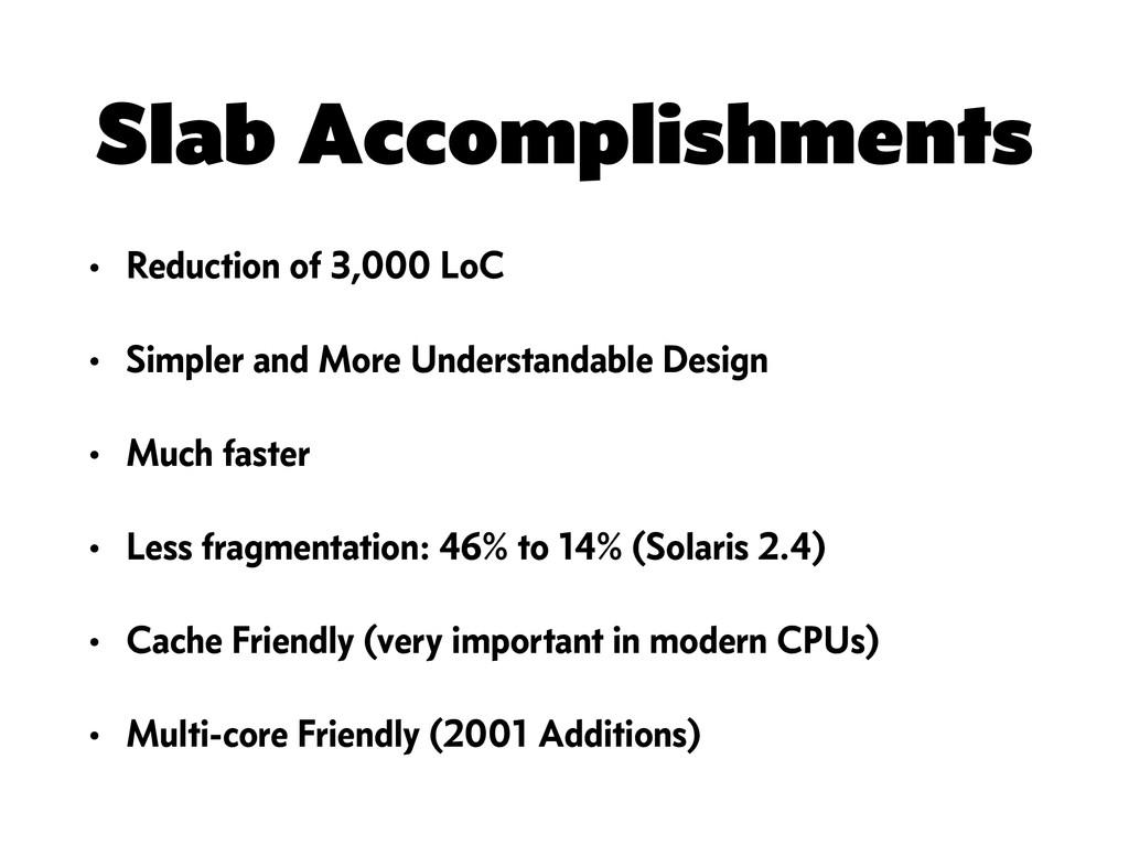 Slab Accomplishments • Reduction of 3,000 LoC •...