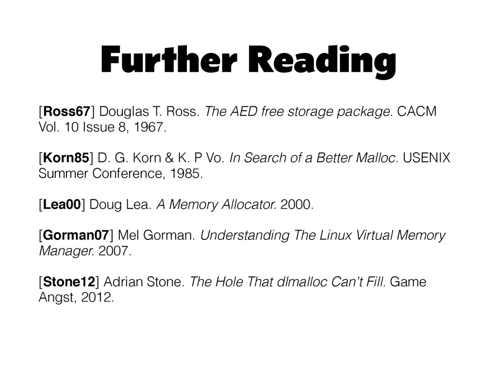 Further Reading [Ross67] Douglas T. Ross. The A...