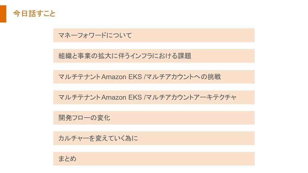 今日話すこと マルチテナント Amazon EKS /マルチアカウントアーキテクチャ 開発フロ...