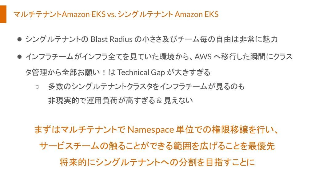 マルチテナントAmazon EKS vs. シングルテナント Amazon EKS ● シング...