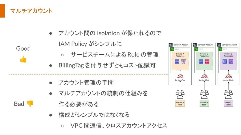 マルチアカウント ● アカウント間の Isolation が保たれるので IAM Policy...