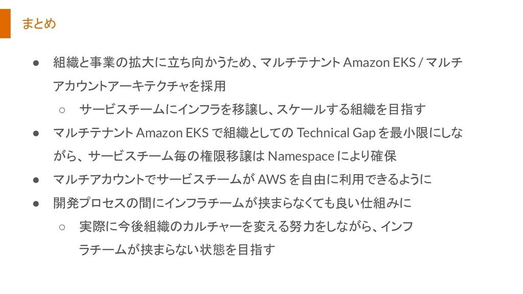 まとめ ● 組織と事業の拡大に立ち向かうため、マルチテナント Amazon EKS / マルチ...