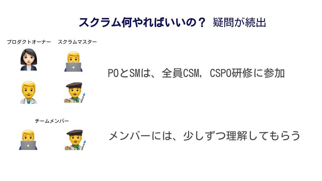 POとSMは、全員CSM, CSPO研修に参加 スクラム何やればいいの? 疑問が続出 メンバー...