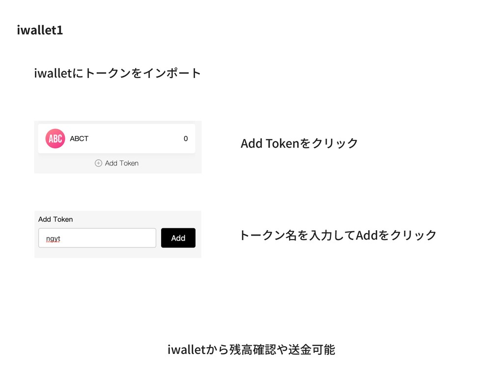 iwallet1 Add Tokenをクリック トークン名を⼊⼒してAddをクリック iwal...