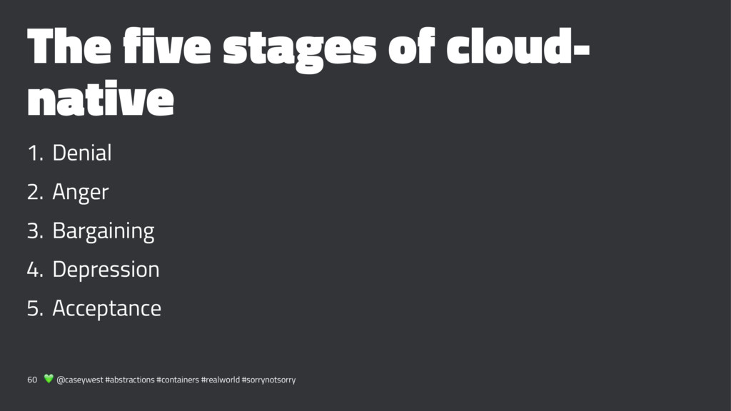 The five stages of cloud- native 1. Denial 2. A...