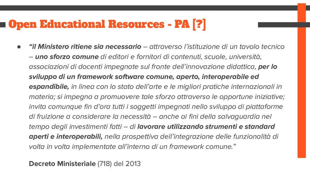 "Open Educational Resources - PA [?] ● ""il Minis..."