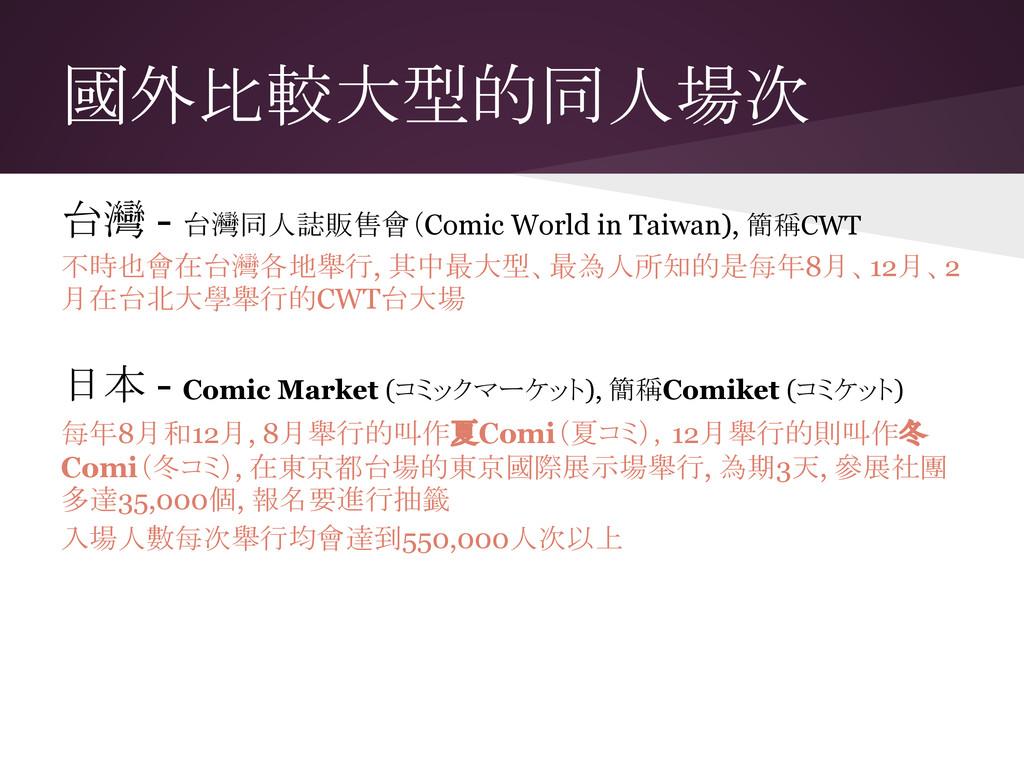 國外比較大型的同人場次 台灣 - 台灣同人誌販售會(Comic World in Taiwan...
