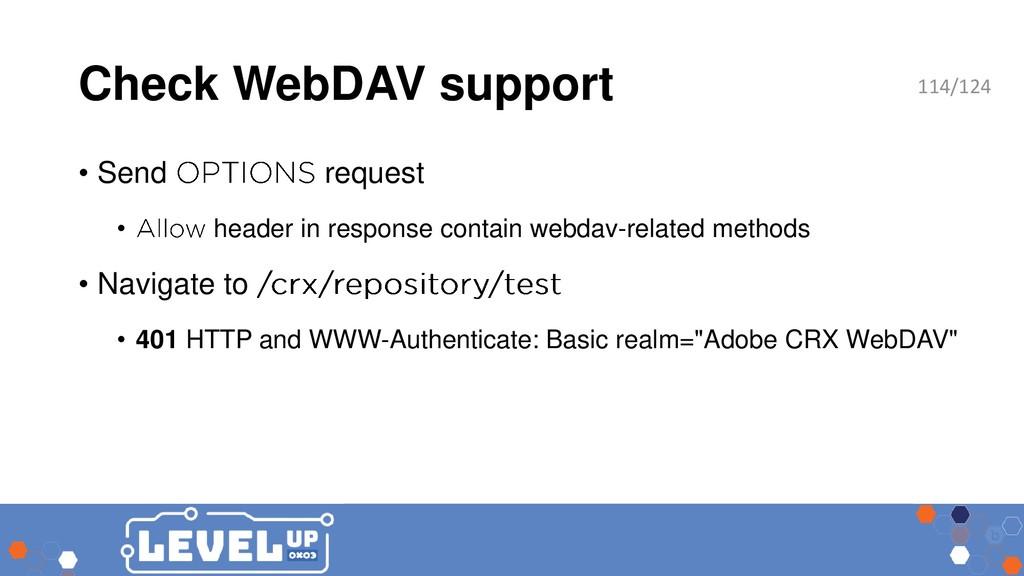 Check WebDAV support • Send request • header in...