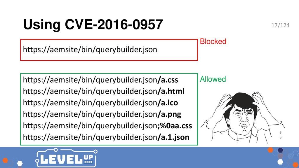 Using CVE-2016-0957 Blocked Allowed https://aem...