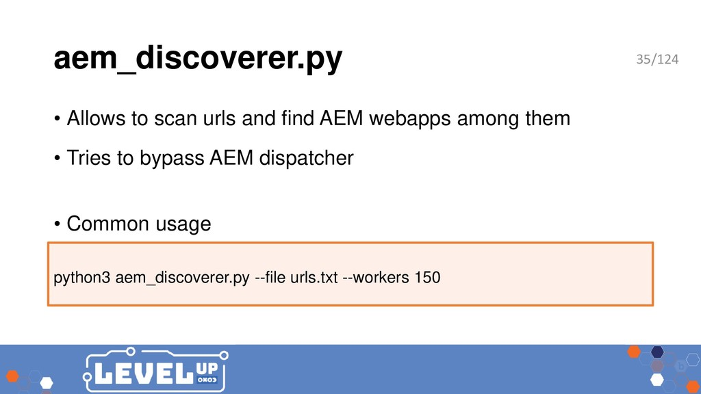 aem_discoverer.py • Allows to scan urls and fin...