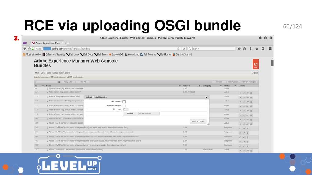 RCE via uploading OSGI bundle 60/124