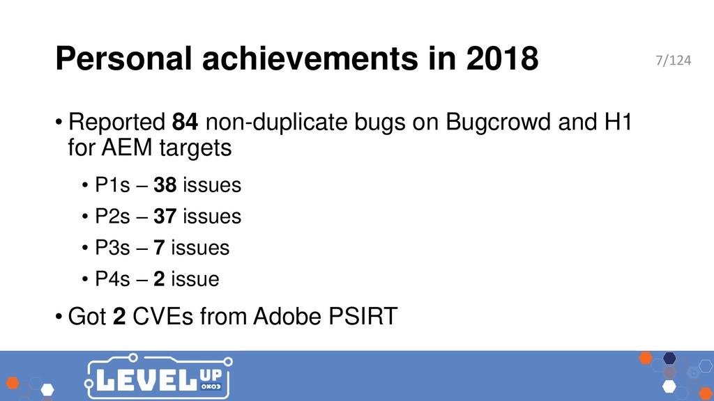 Personal achievements in 2018 • Reported 84 non...