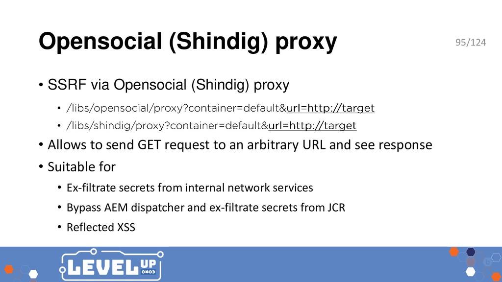 Opensocial (Shindig) proxy • SSRF via Opensocia...