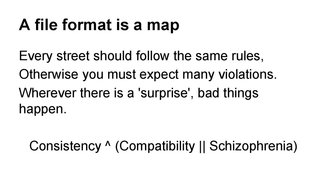 A file format is a map Every street should foll...