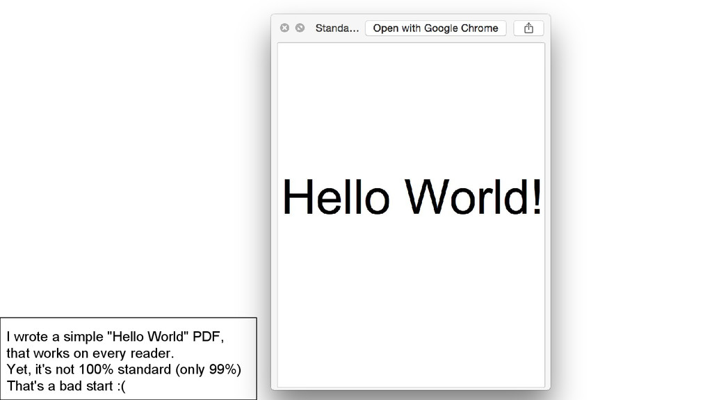 "I wrote a simple ""Hello World"" PDF, that works ..."