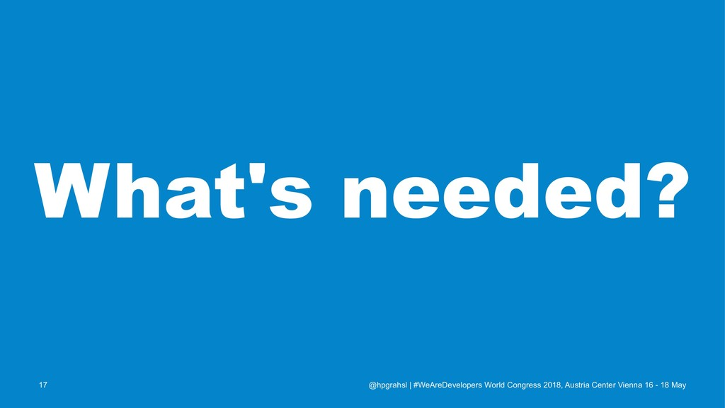 What's needed? @hpgrahsl   #WeAreDevelopers Wor...