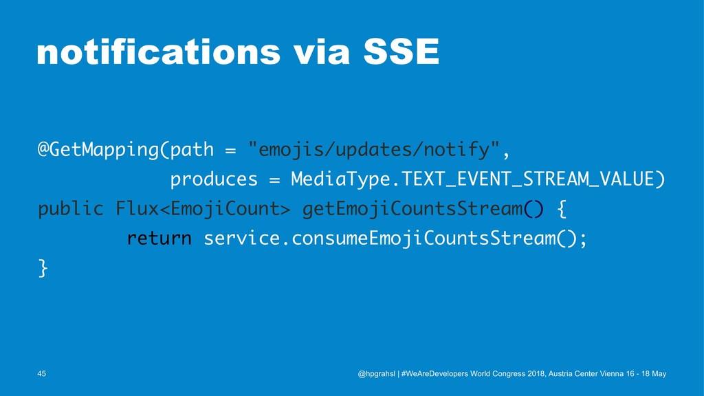"notifications via SSE @GetMapping(path = ""emoji..."