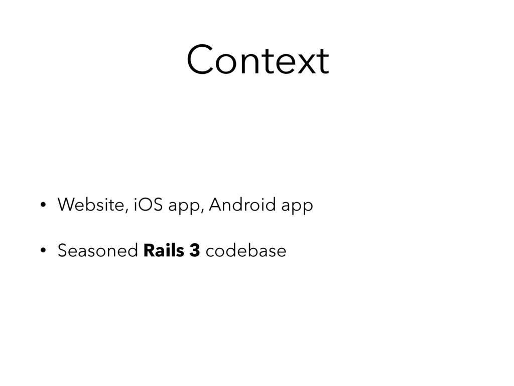 Context • Website, iOS app, Android app • Seaso...