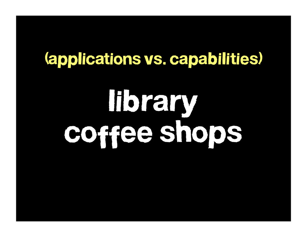 library coffee shops (applications vs. capabili...