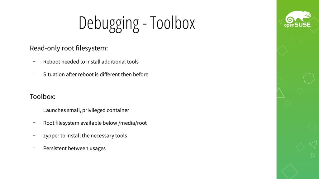 Debugging - Toolbox Read-only root filesystem: ...