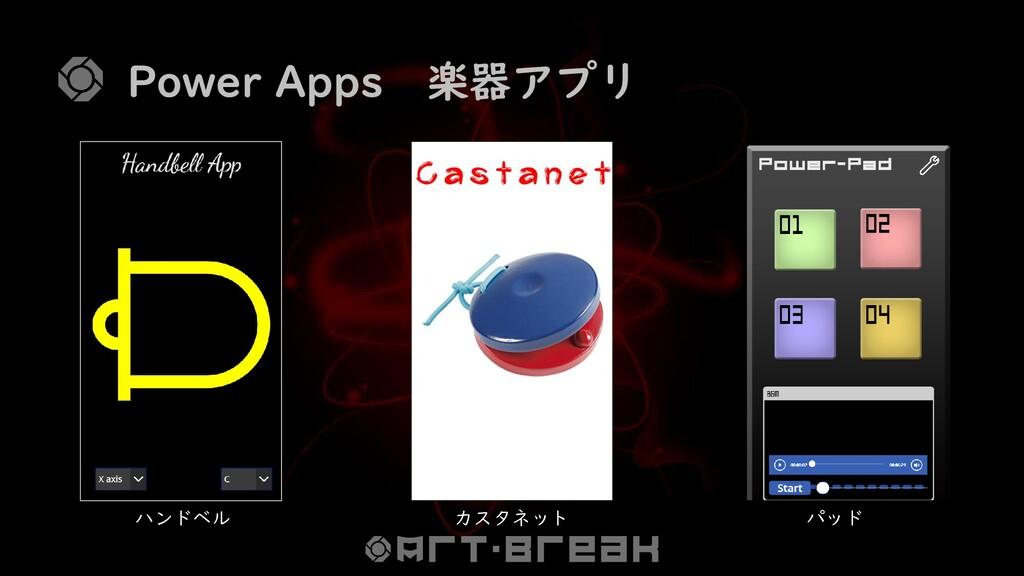 Power Apps 楽器アプリ ハンドベル カスタネット パッド
