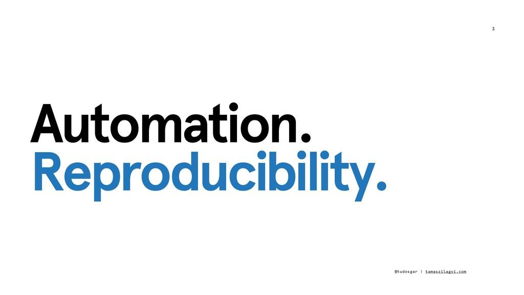 3 Automation. Reproducibility. @tudosgar | tama...